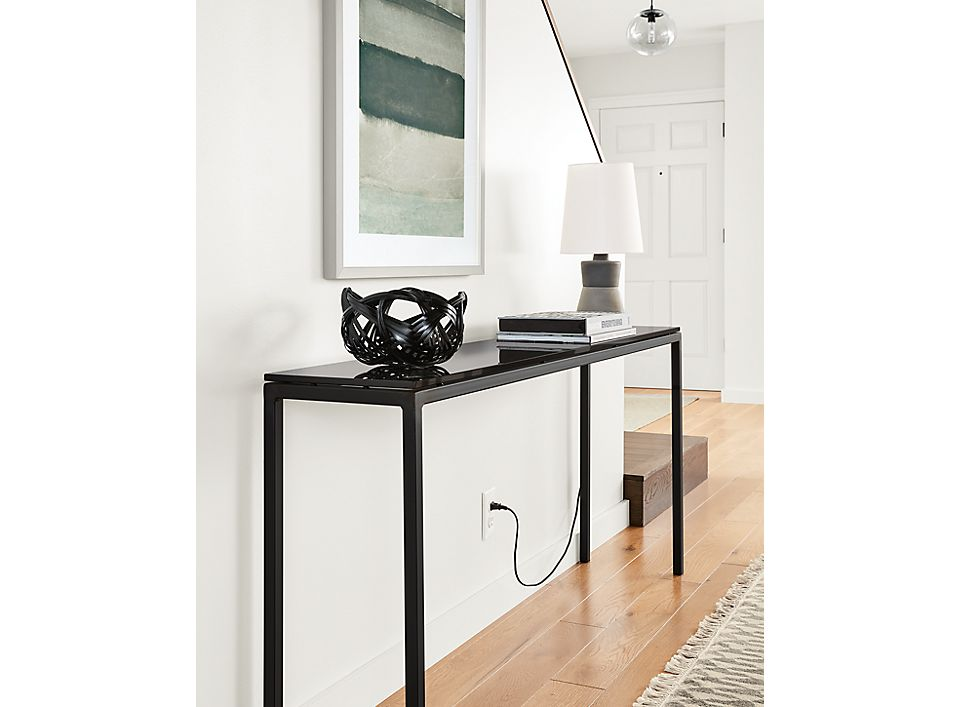 Detail of Parsons thin leg console table