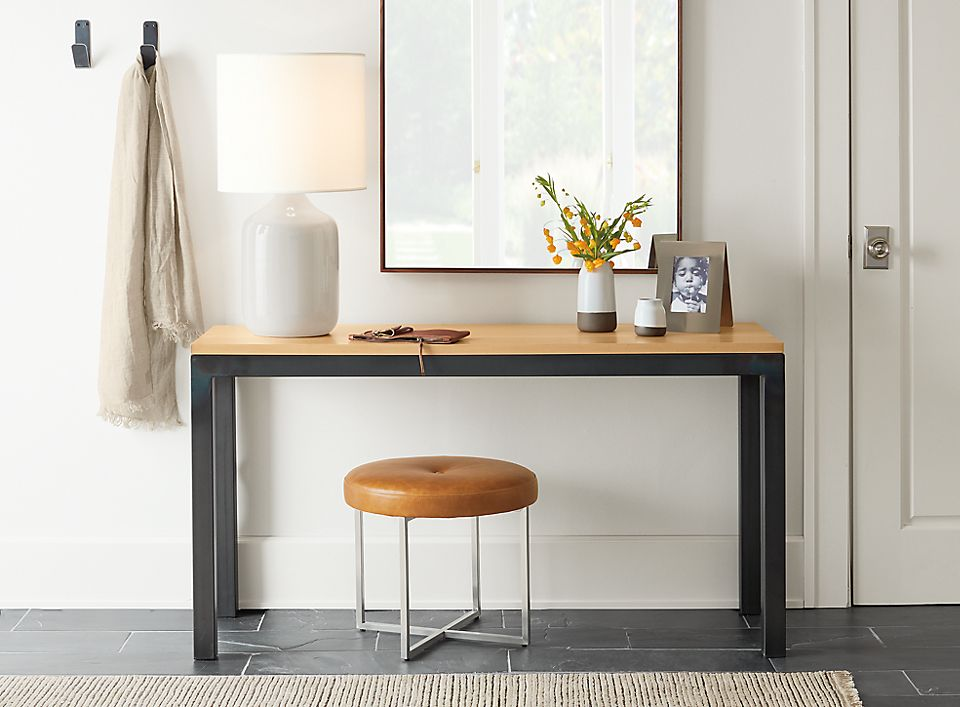 Parsons console table in small entryway