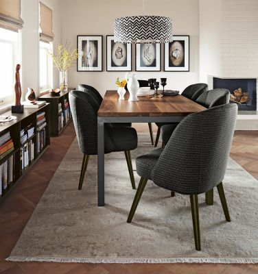 Parsons Dining Table with Cora Chairs Modern Dining Room
