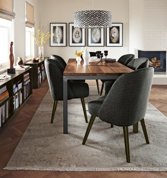 parsons dining table with cora chairs - modern dining room