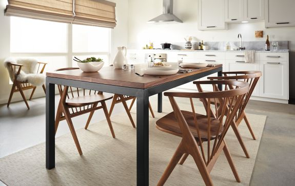 parsons dining table with soren dining chairs - modern dining room