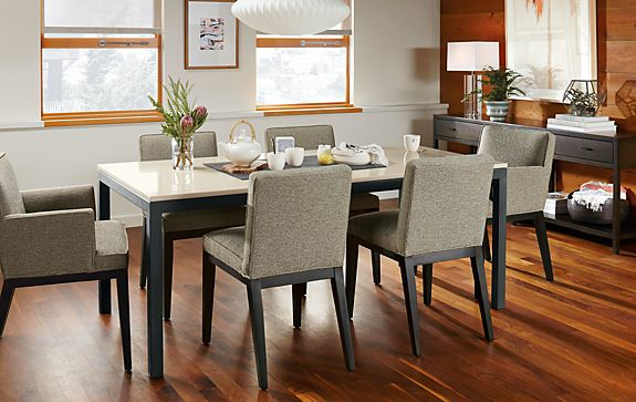 Parsons Table with Ansel Chairs - Modern Dining Room Furniture ...