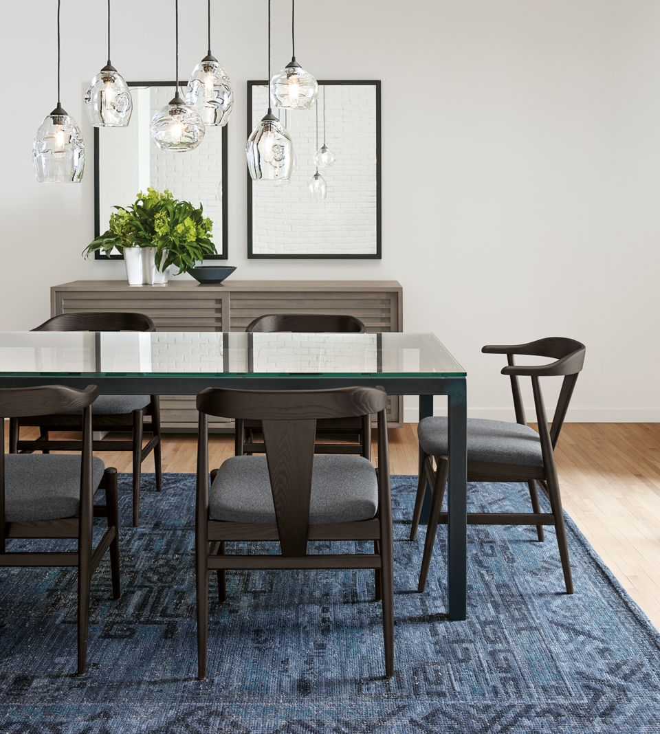 Detail of Parsons 72w dining table natural steel