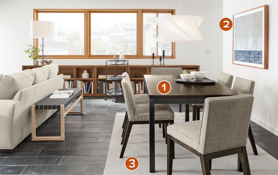 Parsons dining table in open concept room