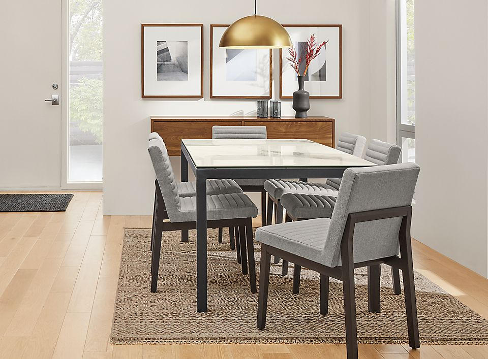 Detail of Parsons table and Olsen chairs