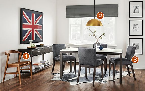 Parsons Dining Table with Ansel Chairs