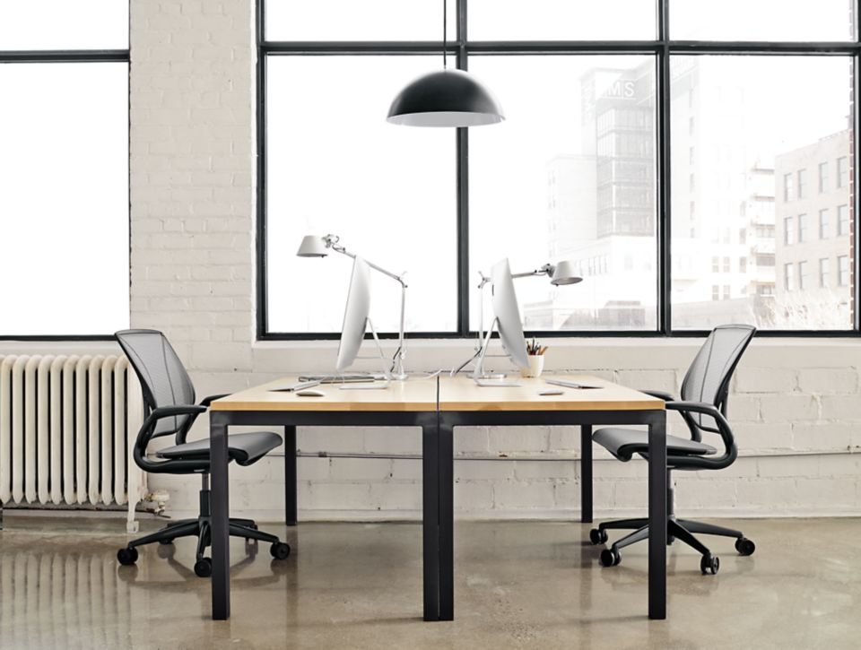 Detial of two Parsons 60x30 tables