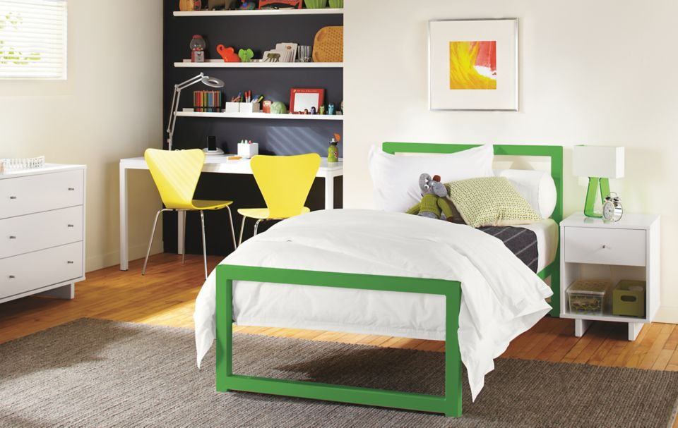 Detail of Piper twin bed in green powder coated steel