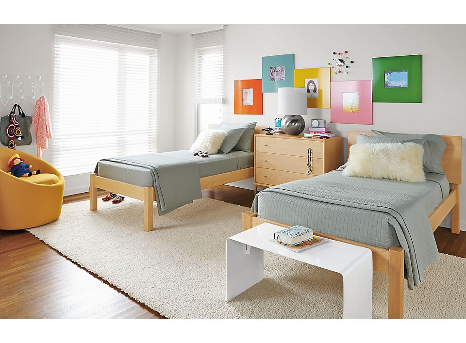 Detail of kids Pogo twin bed in maple