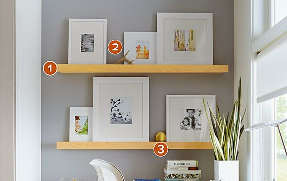 White Frames on Sill Picture Ledges in Maple