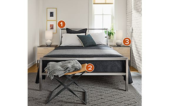 Bedroom with Kenwood Nightstands and Portica Bed