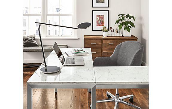 Portica L-Shaped Desk with Marbled Quartz Top