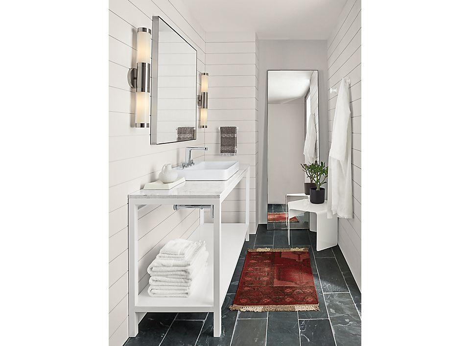 Detail of Pratt 60w bathroom vanity in white