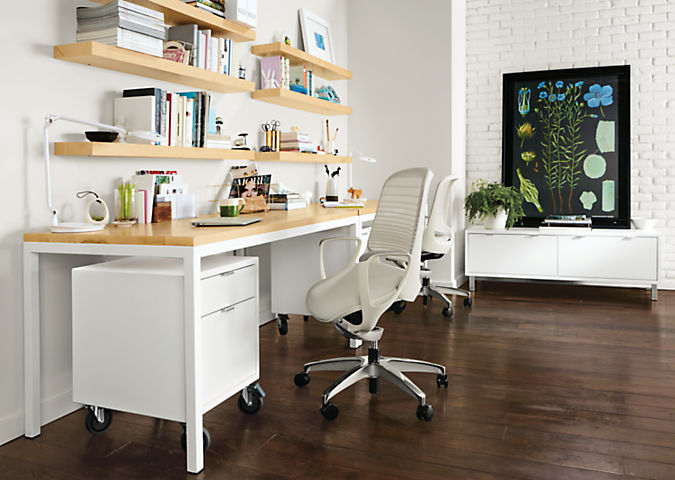Detail of Pratt desk with white base and maple top