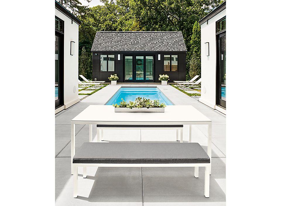 Detail of Pratt 72w outdoor dining table