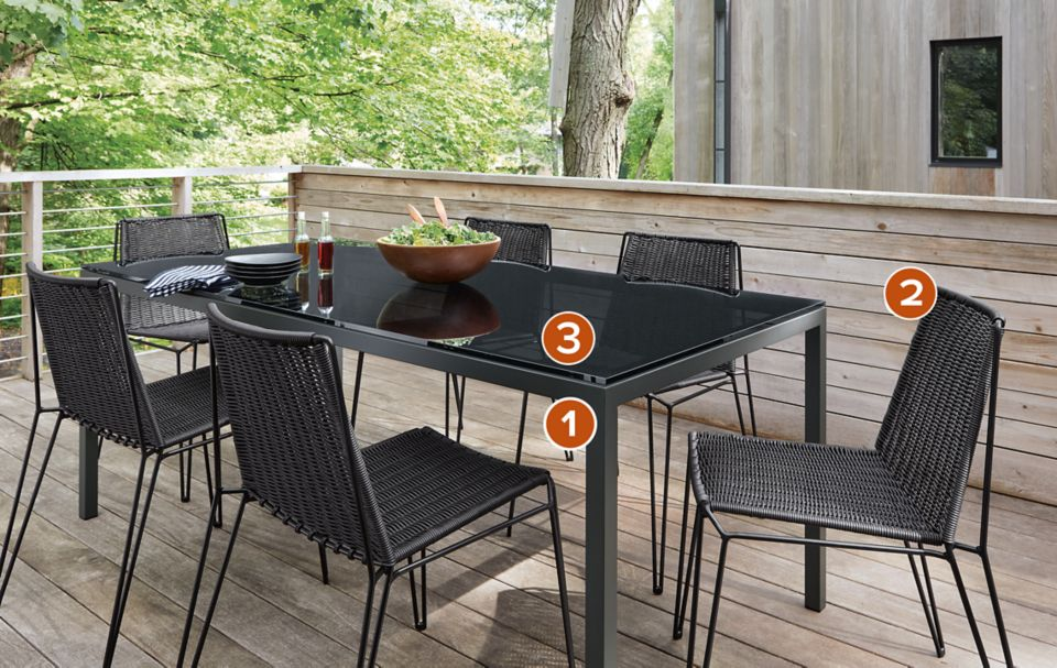 Detail of Pratt outdoor table in graphite