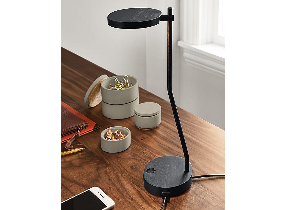 Detail of Puck task lamp in black