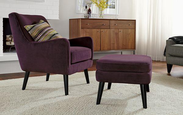 Quinn Custom Chair U0026 Ottoman In View Eggplant