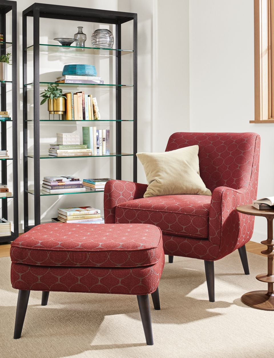 Detail of Quinn chair in Kanto Claret fabric