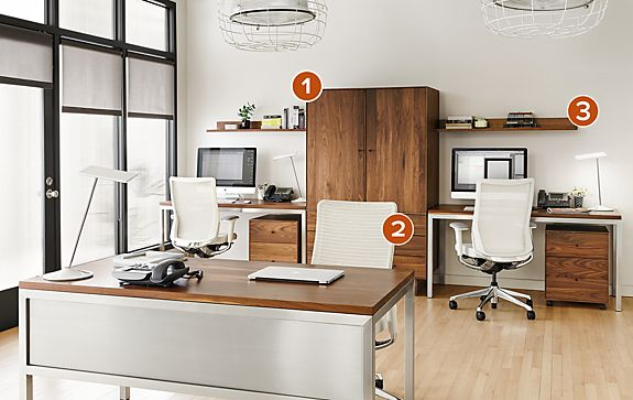 Multi desk workspace in walnut and stainless business for Office design works