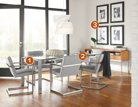 rand dining table with lira chairs - modern dining room furniture