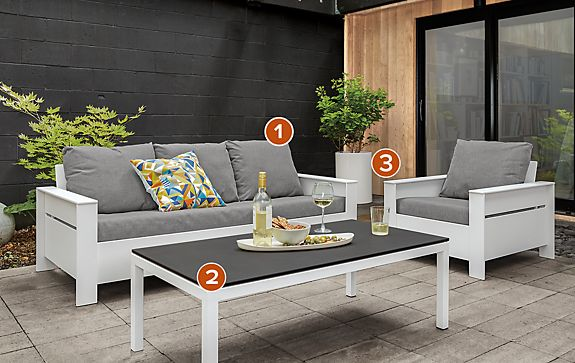 Rayo Outdoor Sofa & Chair in Sunbrella Slate
