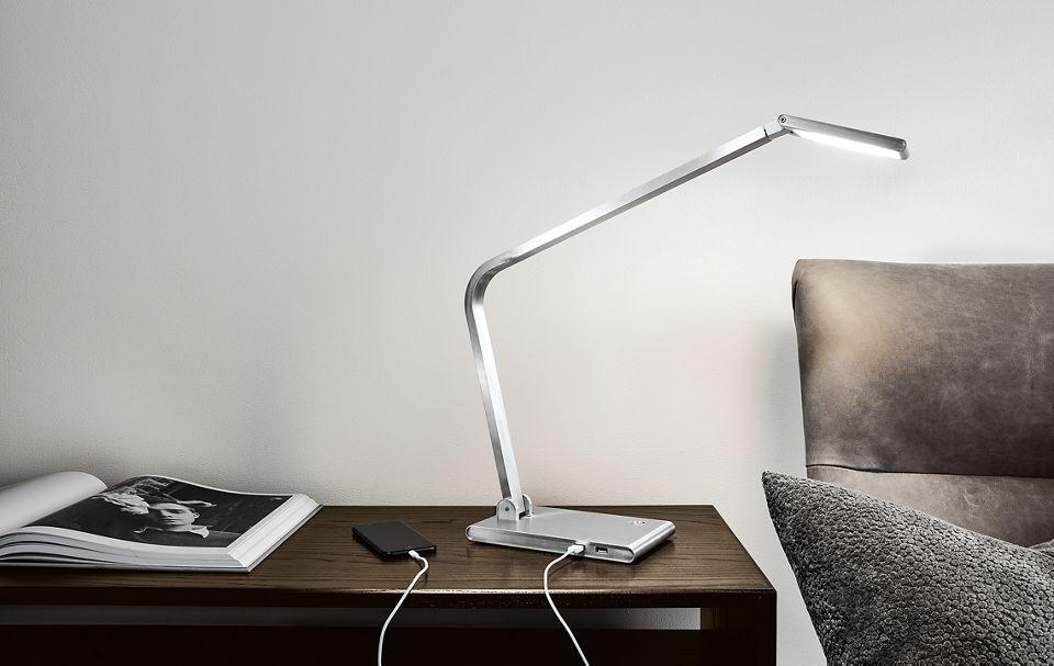 Detail of Reach table lamp in aluminum