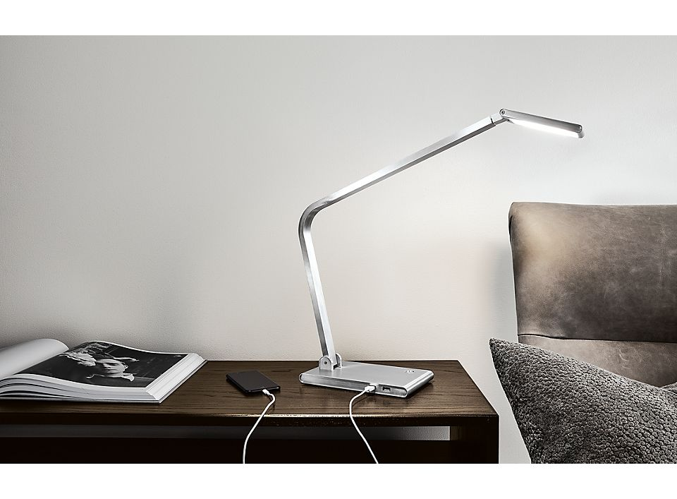 Detail of Reach table lamp in aluminum