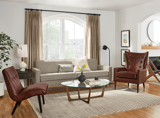 Reese Sofa With Leather Chairs