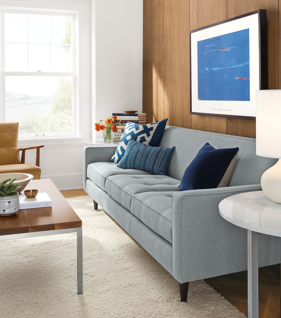 Detail of Reese 85 inch three-cushion sofa in fliny sky fabric