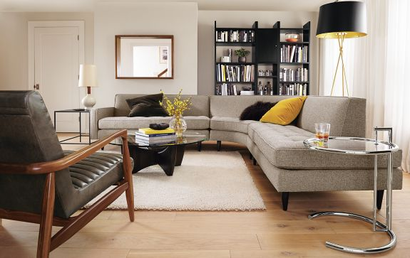 Reese Sectional In Tatum Fabric Modern Living Room