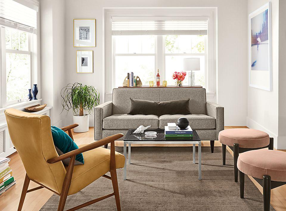Detail of Reese 65 inch sofa in tatum grey fabric
