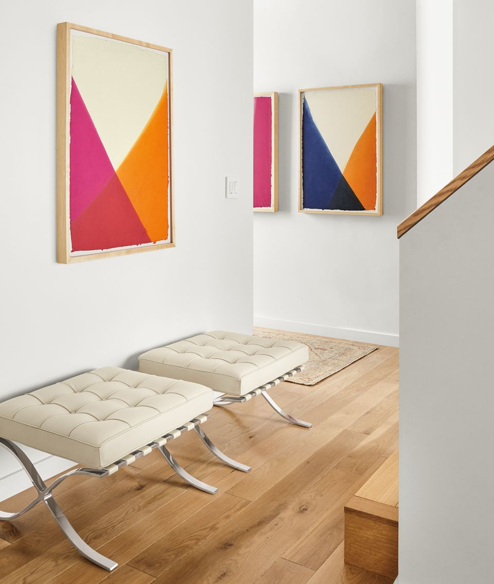 Detail of three John Robshaw artworks, Dip Dye #1, #2, #3
