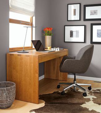rowan desk in cherry with nico chair - modern office furniture