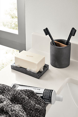 Detail of Saco toothbrush holder in charcoal