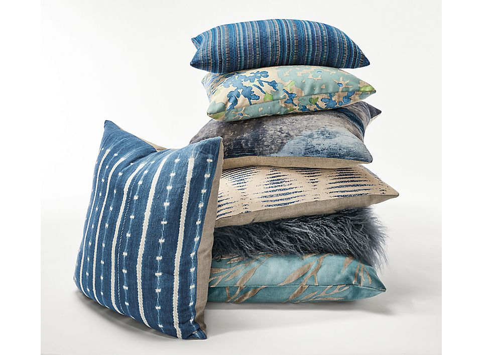 Detail of Samso throw pillow in indigo