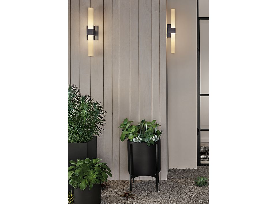 Detail of Sass outdoor sconces in black