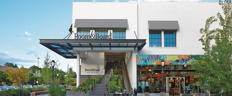 Room & Board Seattle is a modern furniture store in University Village with a beautifully landscaped storefront.