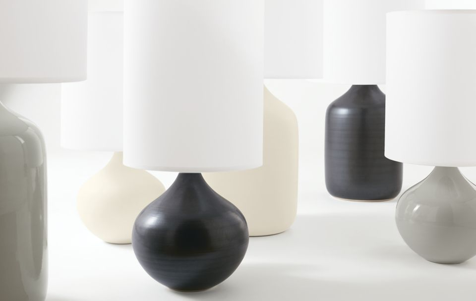 Detail of serena table lamp in grey