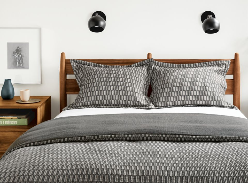 Detail of Sheffield full/queen duvet cover in charcoal