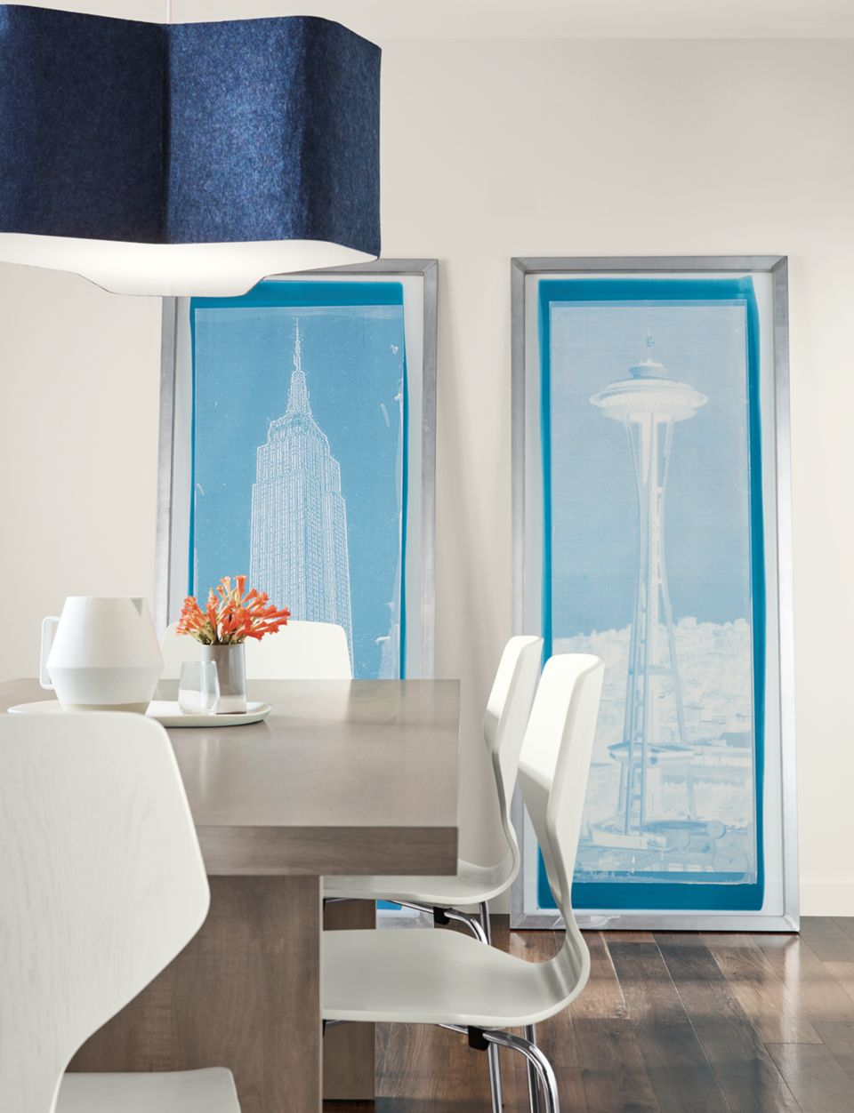 Detail of Space Needle screen art in blue/white