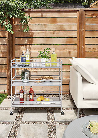 Detail of Slim outdoor bar cart in silver