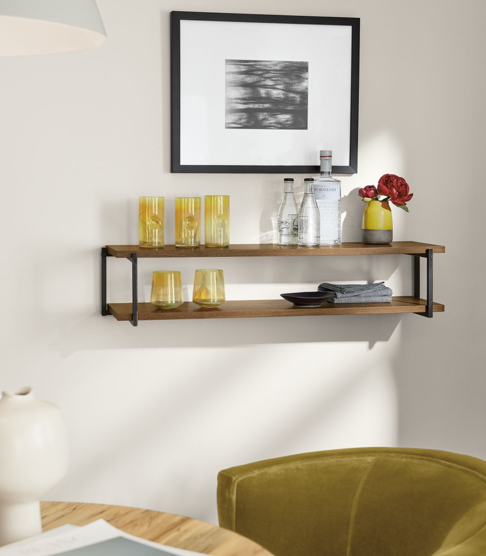 Detail of Stave double wall shelf in walnut