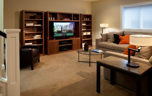 Gentil Family Room With York Sofa And Woodwind Storage