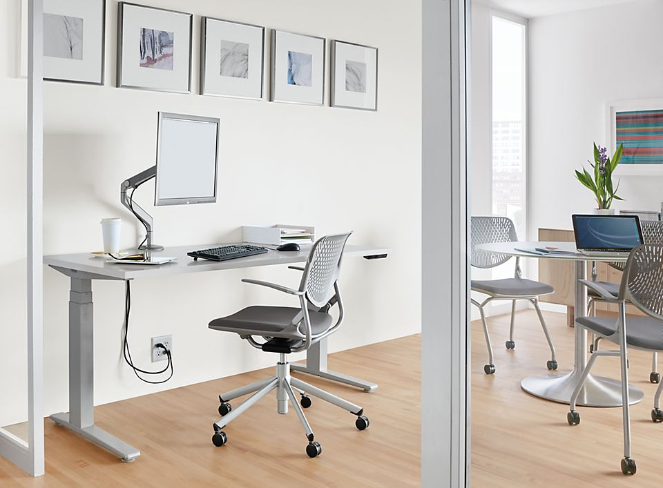 Detail of SW electic height adjustable desk in silver