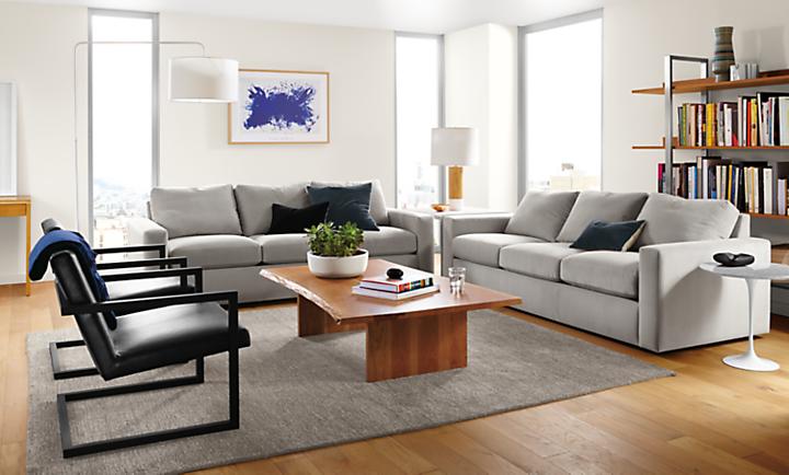 Detail of taft sofa in view grey