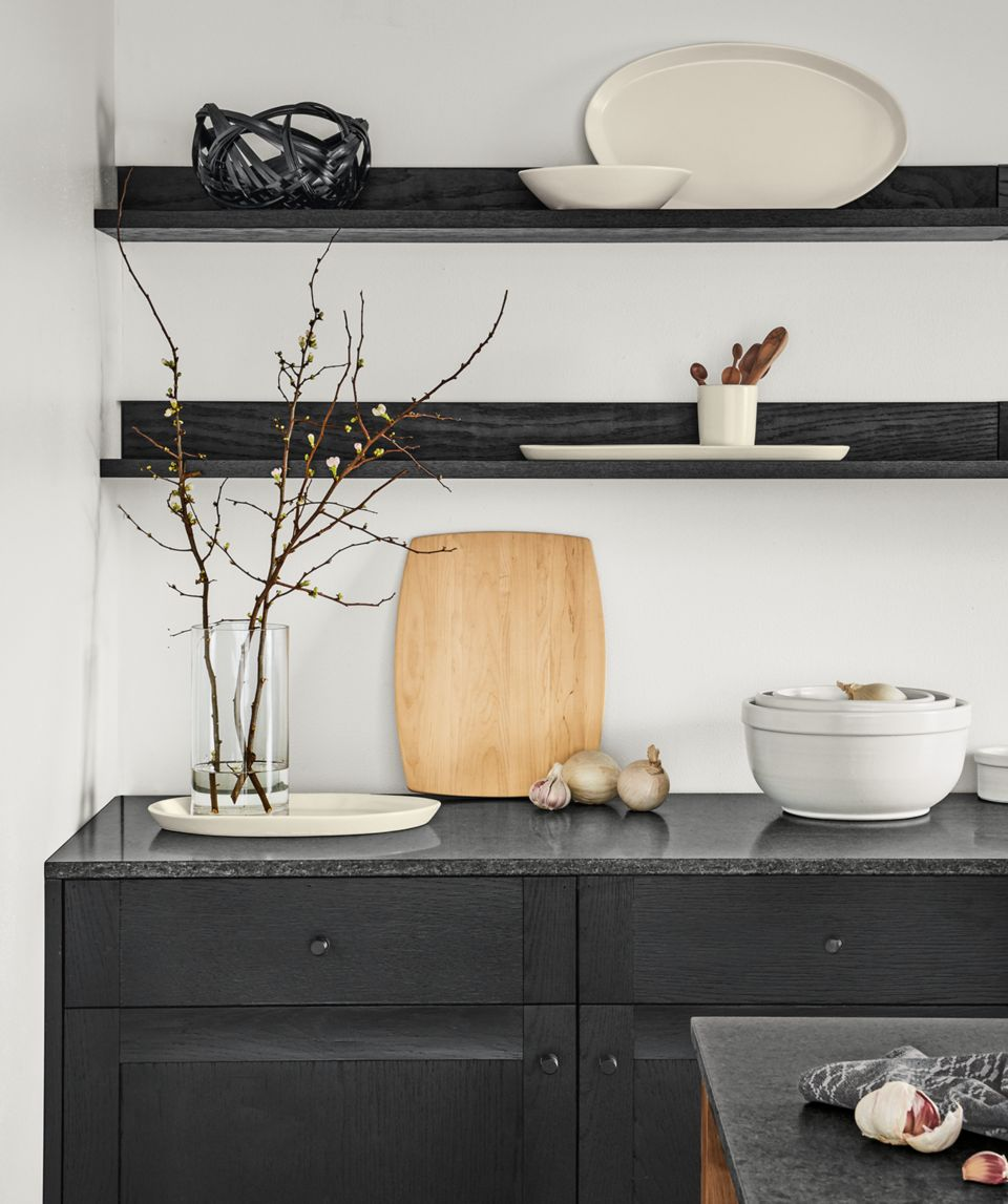 Detail of Tamar edge-grain cutting board in maple in kitchen