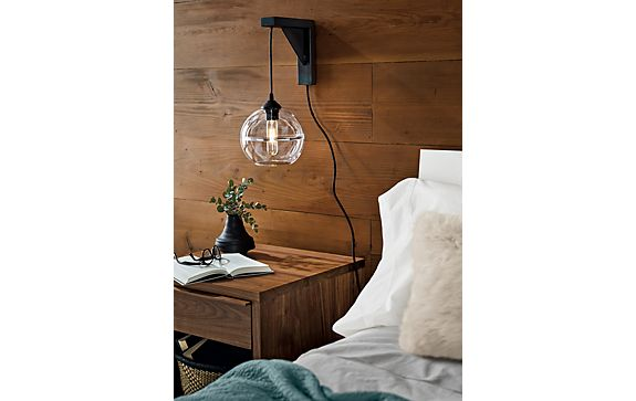 Tandem Wall Mount with Banded Globe Pendant