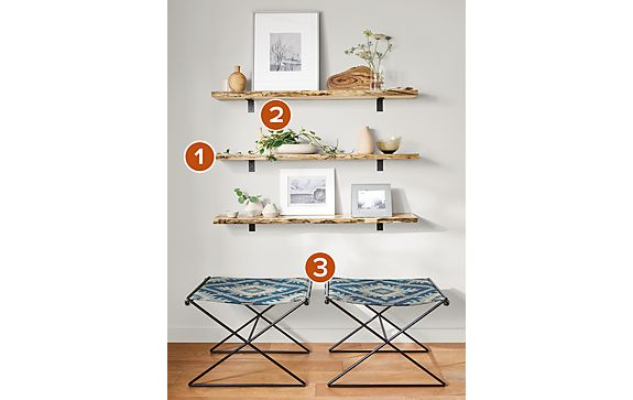 Tavi Stools with Stowe Wall Shelves