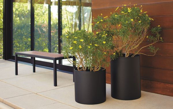 terrace round planters in graphite modern outdoor furniture room rh roomandboard com  room and board outdoor planters